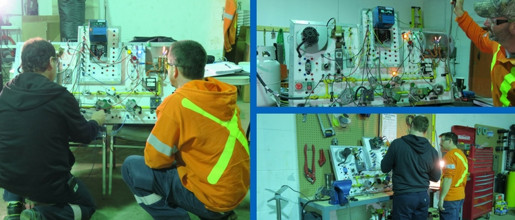 A collage showing technicians conducting hands on training