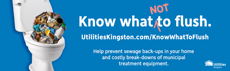Image showing toilet filled with trash. Know What Not to Flush and prevent sewage back-ups and break-downs of treatment equipment.