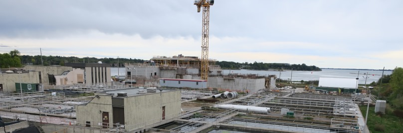 View from above of the Cataraqui Bay Treatment Plant construction