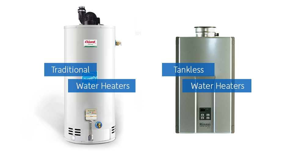 Hot water tank types. Traditional tank water heater or tankless water heaters are shown.