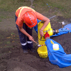 Operators flow rate a fire hydrant